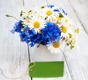 Daisies and cornflowers in vase Royalty Free Stock Photos