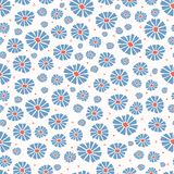 Daisies Field Flower All Over Print Vector. Colorful Blooms Seamless Repeating Pattern. In Folk Art Style on White Background. Hand Painted, Tossed Fashion vector illustration