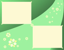 Daisies and Gradients in Green. A scrapbook style page featuring stylized flowers flowing against a green background, overlaid with light yellow boxes Royalty Free Stock Images