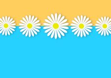 Daisy Flowers Line in Blue and Yellow Background stock illustration