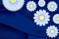 Daisies and marguerites. Beautiful abstract background with daisies and marguerites on a blue silk vector illustration
