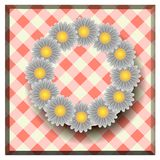 Daisies on a red tablecloth,a design for postcards. Daisies on a red tablecloth,a design for web and postcards stock illustration