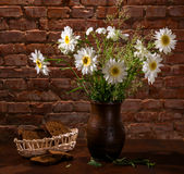 Daisies in vase and bakery pieces of  bread Royalty Free Stock Photography