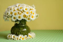 Daisies in a vase and a wreath. Daisy bouquet in a vase placed inside a daisies wreath - spring still life with copy space stock photos