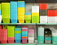 DAISO brand multi-coloured plastic container. SHAH ALAM, MALAYSIA – AUGUST 27, 2017: DAISO brand multi-coloured plastic container displayed for sale in DAISO Stock Image