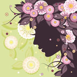 Daisy background with face silhouette. Floral decorative background with daisies patterns and woman face silhouette Royalty Free Stock Photo