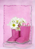 Daisy bouquet on boot Royalty Free Stock Image