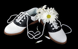 Daisy bouquet in saddle shoe Stock Images
