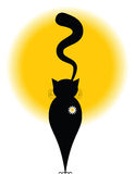 Daisy cat. Black cat with curly tail looking at the sunset with a small daisy on its royalty free illustration