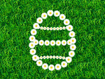 Daisy chain in shape of Easter egg on grass background Royalty Free Stock Photography