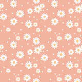 Daisy cute seamless pattern. Floral retro style simple motif. white flowers on color background fabric Stock Photography