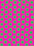 Daisy and Dots in Hot Pink. Hot pink background is covered in daisy shaped flowers with blue centers. Bright blue polka dots decorate between flowers vector illustration
