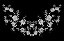 Daisy embroidery print texture flower arrangement leaves.  Royalty Free Stock Photos