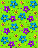 Daisy Fill Bright Green. Background image is bright green and covered in 70s style daisies in aqua, purple and yellow.  Polka dots and hearts fill in between Stock Images