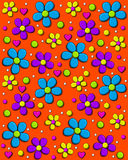 Daisy Fill Bright Orange. Background image is bright orange and covered in 70s style daisies in aqua, purple and yellow.  Polka dots and hearts fill in between Stock Photos