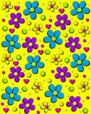 Daisy Fill Bright Yellow. Background image is bright yellow and covered in 70s style daisies in aqua, purple and yellow.  Polka dots and hearts fill in between Royalty Free Stock Image