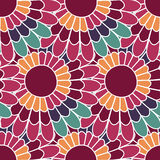 Daisy floral seamless pattern in vector. Colorful endless background with flowers. Stock Photo