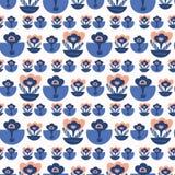 Daisy Floral Vector Pattern Hand gezeichnetes Blau stock abbildung