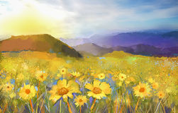 Daisy flower blossom.Oil painting of a rural sunset landscape with a golden daisy field. Stock Photos