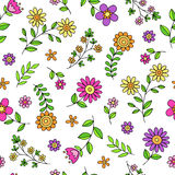 Daisy Flower Doodles Seamless Pattern Vector royalty free illustration