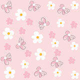 Daisy flower field pattern vector pink background Stock Image