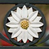 Daisy Flower iron casting on gate Stock Image