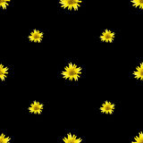 Daisy Flower Motif Seamless Pattern scura Fotografia Stock