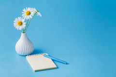 Daisy flowers and blank notebook Royalty Free Stock Images