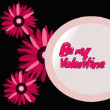3 Daisy Flowers con Valentine Message Immagine Stock