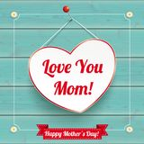 Daisy Flowers Frame Turquoise Wood Hanging Heart Mothersday. Hanging Heart with vintage frame for Mother`s Day on the wooden background Stock Photography