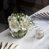 Daisy flowers in a glass vase Stock Photo