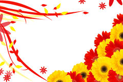 Daisy flowers half frame. Frame prepared with colorful daisy flowers vector illustration