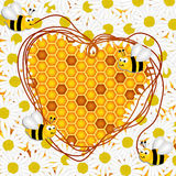Daisy flowers and  honeycomb with bees background. Scalable vectorial image representing a daisy flowers and  honeycomb with bees background,  on white Stock Image
