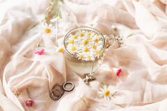 Free Daisy Flowers In Water In Glass Cup On Background Of Soft Beige Fabric With Wildflowers And Jewelry. Tender Floral Aesthetic. Stock Photography - 191642622