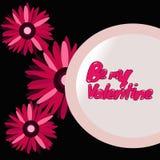 3 Daisy Flowers met Valentine Message Stock Afbeelding