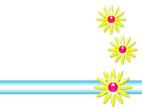 Daisy Flowers and Stripe Background. White background with daisies and a stripe vector illustration