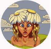 Daisy Girl. Cartoon fairy-girl with daisies on her head royalty free illustration