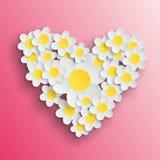 Daisy hart Valentine Royalty-vrije Stock Afbeeldingen