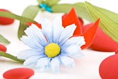 Daisy and leaves. A closeup of a fake blue-white daisy and leaves Royalty Free Stock Photos