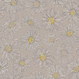 Daisy Line Seamless Pattern på Tan Background vektor illustrationer