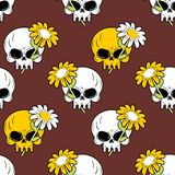 Daisy and skull seamless pattern. Symbol of death and life  Royalty Free Stock Image