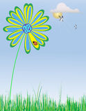Daisy on a spring day. An illustration of a daisy during a spring day with birds, clouds and sunshine Royalty Free Stock Photography
