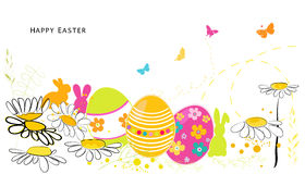 Daisy spring flowers and Happy Easter greeting card vector background Royalty Free Stock Images