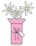Daisy Vase. A vase of pink daisies with a tag vector illustration