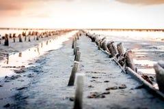 daj się narażenia na plaży wolnym miękkim sunset fala bardzo zdjęcia stock