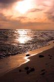 daj się narażenia na plaży wolnym miękkim sunset fala bardzo Obraz Stock