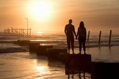 daj się narażenia na plaży wolnym miękkim sunset fala bardzo Zdjęcie Royalty Free