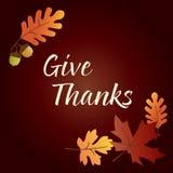 Daje dzięki dziękczynienia grafice z acorns i liśćmi na brown gradientowym tle Obraz Royalty Free