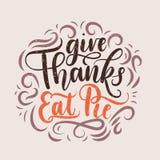 Daje dzięki je pasztetowego dziękczynienia letterring kartę ilustracji