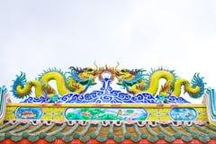 Dak door de stijl van China, Chinees heiligdom Stock Afbeeldingen